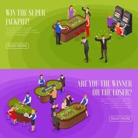 Casino Isometric Banners Vector Illustration
