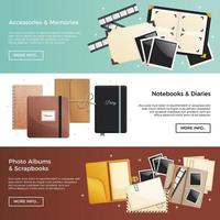 Accessories And Memories Horizontal Banners Vector Illustration