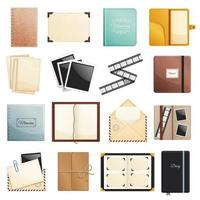 Scrapbook Notepad Diary Collection Vector Illustration