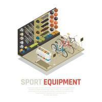 Ilustración de vector de composición isométrica de equipamiento deportivo