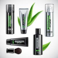Realistic Shaving Cosmetics Products Set Vector Illustration