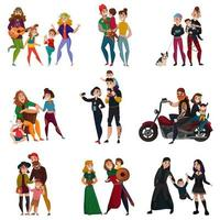 Subcultures Families Cartoon Set Vector Illustration