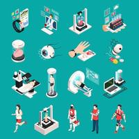 Medical Technology Isometric Icons Vector Illustration
