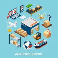 Logistics Isometric Concept Vector Illustration