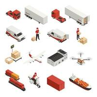 Cargo Transportation Isometric Icons Vector Illustration
