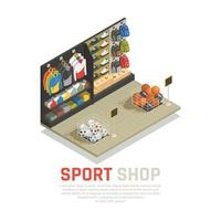 Ilustración de vector de composición isométrica de tienda de deporte