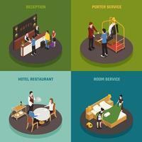 Ilustración de vector de concepto de diseño isométrico de personal de hotel
