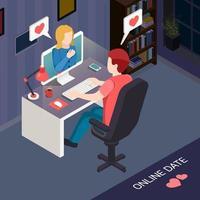 Romantic Date Online Isometric Composition Vector Illustration