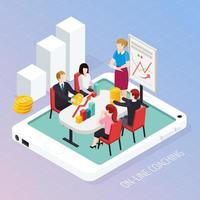 Business Coaching Online Isometric Composition Vector Illustration