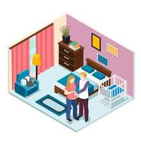 Expectation Baby Isometric Composition Vector Illustration