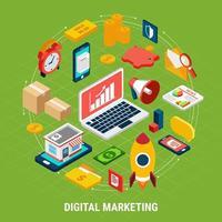 Ilustración de vector de concepto isométrico de marketing digital