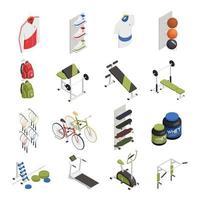 Ilustración de vector de iconos isométricos de tienda de deporte