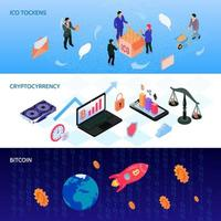 Ilustración de vector de banners isométricos de moneda criptográfica