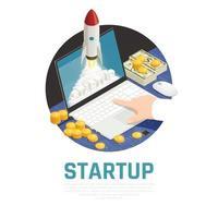 Entrepreneur Start Up Isometric Composition Vector Illustration
