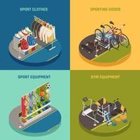 Ilustración de vector de concepto de diseño isométrico de tienda de deporte