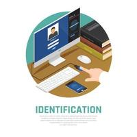 Computer Identity Approval Background Vector Illustration