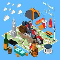 Tourist Lifestyle Isometric Composition Vector Illustration