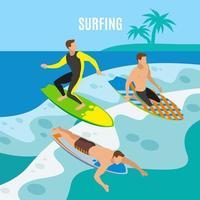 Surfing Isometric Background Vector Illustration