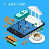 Online Banking Isometric Composition Vector Illustration