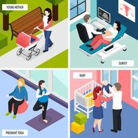 Pregnancy Isometric Design Concept Vector Illustration