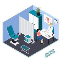 Gynecology Consultation Isometric Composition Vector Illustration