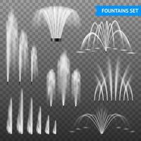 Realistic Fountain Set Vector Illustration