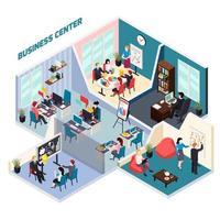 Ilustración de vector de composición isométrica de centro de negocios