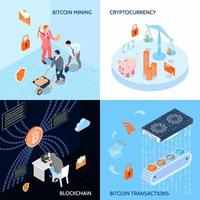 Crypto Currency Isometric Design Concept Vector Illustration