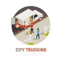 City Trucking Isometric Round Composition Vector Illustration