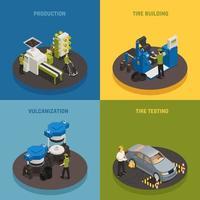 Tire Production Isometric Design Concept Vector Illustration