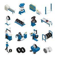 Ilustración de vector de iconos isométricos de producción de neumáticos