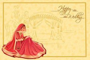 Indian woman bride in wedding ceremony of India vector
