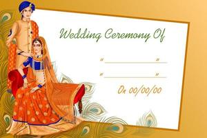 Indian couple in wedding ceremony of India vector