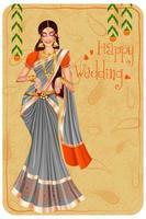 Indian woman bride in wedding Mehandi ceremony of India vector