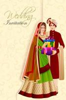 Indian man couple with gift in wedding ceremony of India vector