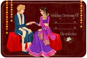 Indian couple in wedding Engagement ceremony of India vector