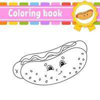 Coloring book for kids hot dog vector