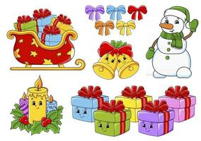 Set of Christmas stickers with cute cartoon characters vector