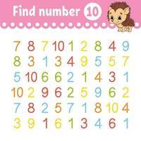 Find number Education developing worksheet vector