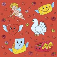 Set of stickers with cute cartoon characters Valentine's Day vector