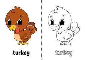 libro para colorear para niños pavo vector