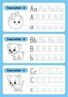 escribir letras trazando página abc vector
