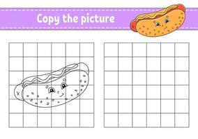 Copy the picture Coloring book pages for kids hotdog vector