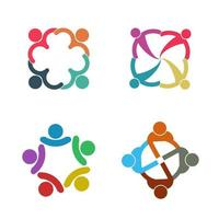 Group people logo handshake in a circle Teamwork icon vector