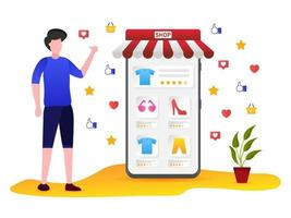 Customers give the best rating in online shopping vector