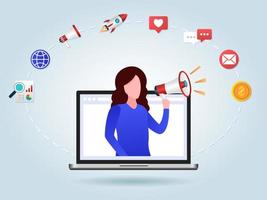 women with a megaphone marketing campaign vector