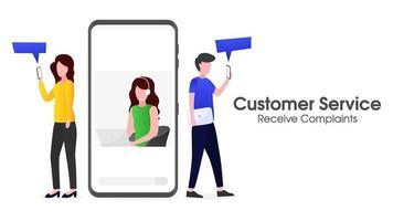 Customer service is receiving customer complaints via smartphone vector