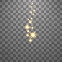 el polvo son chispas amarillas y las estrellas doradas brillan con una luz especial vector