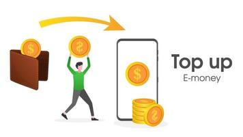 Illustration of a user top up E money vector