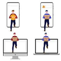 Various characters of a person carrying goods vector